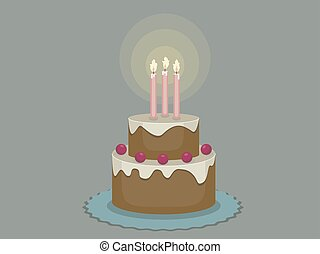 Birthday cake with candles on a dark background, vector illustration
