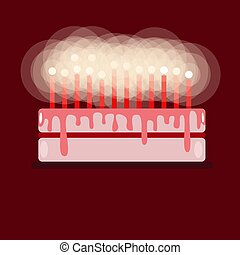 Birthday cake with candles. On a red background. Flat