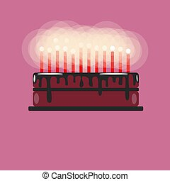 Birthday cake with candles. With chocolate coating. Place for text