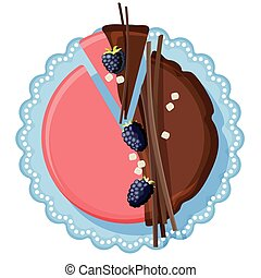 Birthday cake with chocolate and strawberry cream decorated...