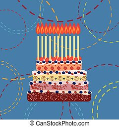 Birthday cake with eleven candles. Eleven years