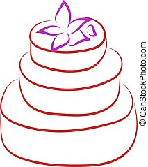 Birthday cake with flower drawing, illustration, vector on white background.