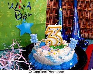 Birthday cake with gift bag
