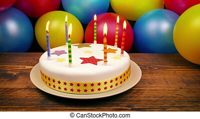 Birthday Cake With Lit Candles On Table
