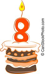 Birthday cake with number eight, illustration, vector on white background.
