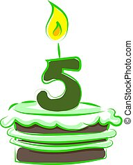 Birthday cake with number five, illustration, vector on white background.