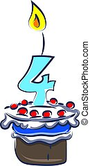 Birthday cake with number four, illustration, vector on white background.