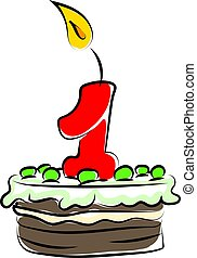 Birthday cake with number one, illustration, vector on white background.