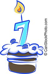 Birthday cake with number seven, illustration, vector on white background.