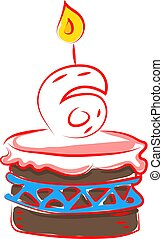 Birthday cake with number six, illustration, vector on white background.