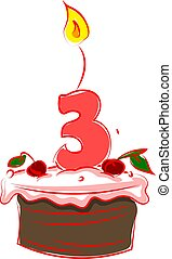 Birthday cake with number three, illustration, vector on white background.