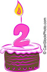 Birthday cake with number two, illustration, vector on white background.