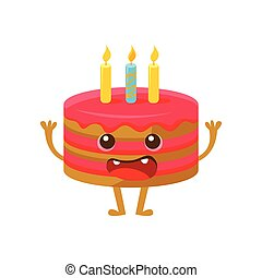 Birthday Cake WIth One Candle, Happy Birthday And Celebration Party Symbol Cartoon Character