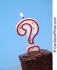 birthday cake with question candle