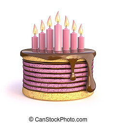 Birthday cake with seven candles. 3D