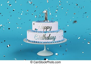birthday cake with silver letters and numer 1 on top