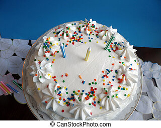 Birthday cake with white icing