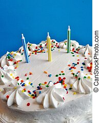 Birthday cake with white icing