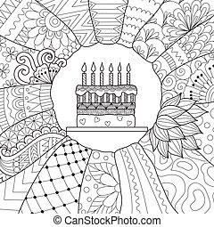 Birthday cake - Zendoodle design of birthday cake for...