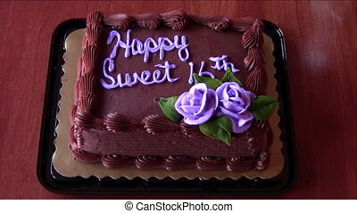 Birthday cake - Zoom in on decorated sixteenth birthday cake
