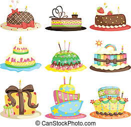 Birthday cakes - A vector illustration of different gourmet...