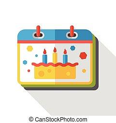 birthday calendar flat icon