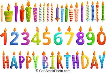 Birthday candle icons set, cartoon style