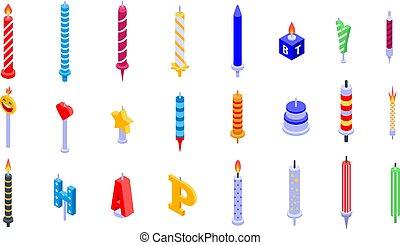Birthday candle icons set, isometric style