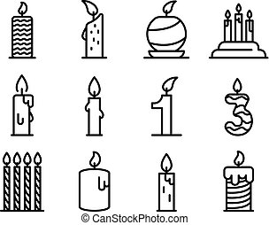 Birthday candle icons set, outline style