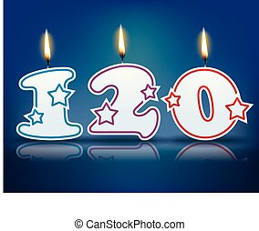 Birthday candle number 120 with flame - eps 10 vector...