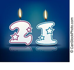 Birthday candle number 21 - Birthday candle number with...