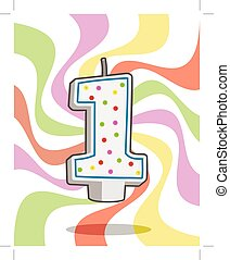 number one - birthday candle number one