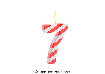 Birthday candle with number 7, 3D rendering