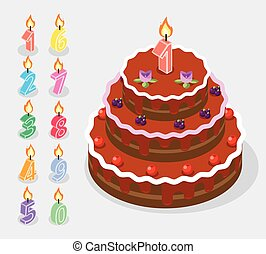 Birthday candles fire numbers 3d isometric