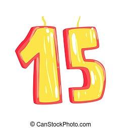 Birthday candles number 15 cartoon vector Illustration