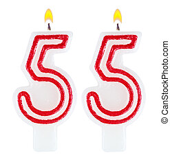 Birthday candles number fifty five isolated on white ...