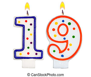 Birthday candles number nineteen isolated on white background