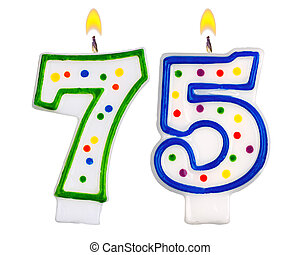 75th birthday candles isolated Colorful birthday candles stock