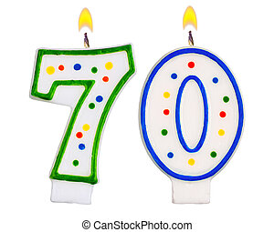 Birthday candles number seventy isolated on white background