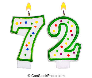 Birthday candles number seventy two isolated on white...