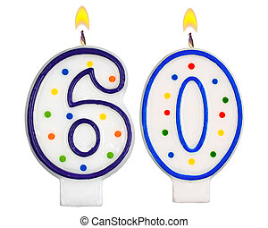 Birthday candles number sixty isolated on white background