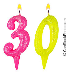 Birthday candles number thirty isolated