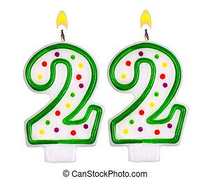 Birthday candles number twenty two