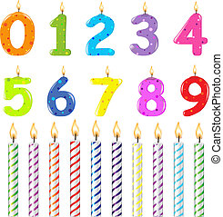 Birthday Candles Of Different Form, Isolated On White Background, Vector Illustration