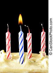 birthday candles on cake