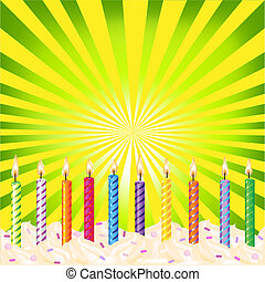 Birthday Candles On Green Background