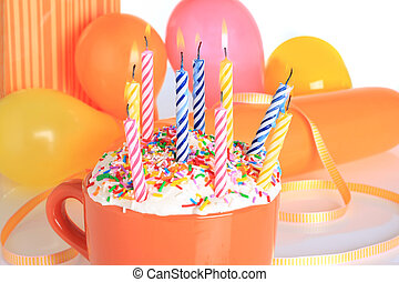 Birthday candles, presents and balloons. Also available in...