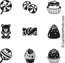 Birthday candy icon set, simple style