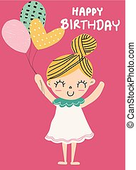 birthday card a cute girl holding balloon