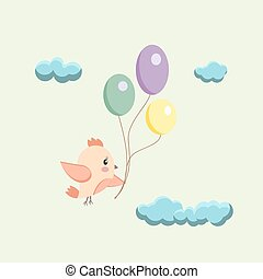image of a bird with balloons